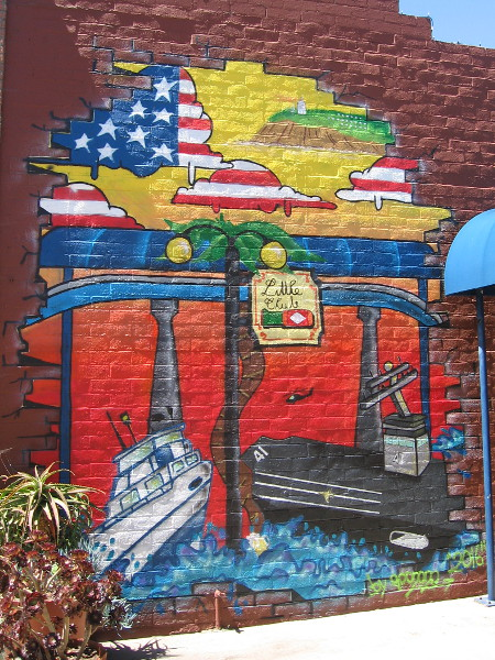 Some patriotic art on a wall by the Little Club on Orange Avenue.