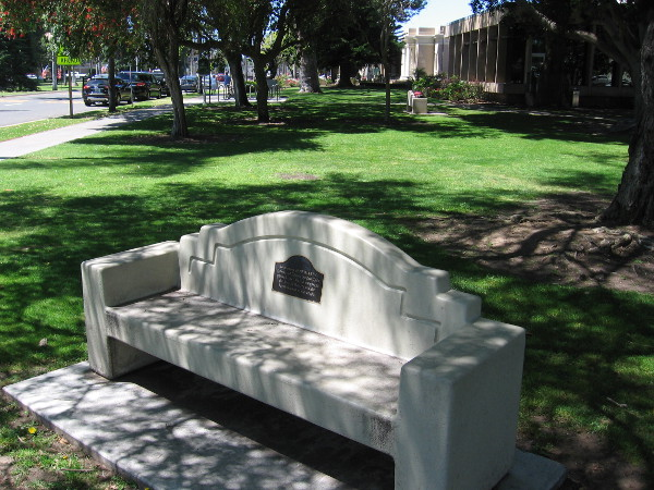 Bench near the front of the Coronado Public Library.