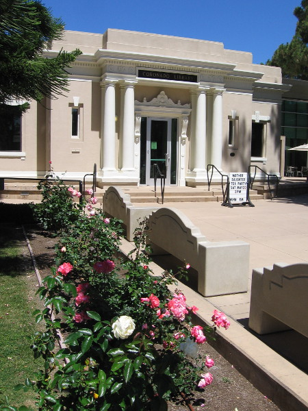 Flowers in front of the stately but welcoming Coronado Public Library.