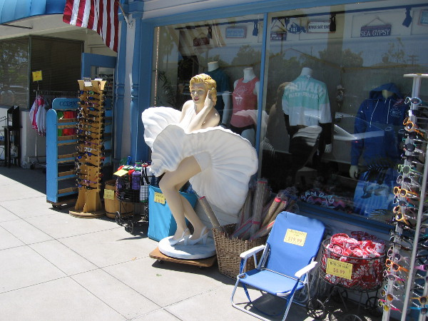 A life-size Marilyn Monroe by an Orange Avenue shop in her iconic pose. She starred in the classic movie Some Like It Hot, which was filmed at the nearby Hotel del Coronado.
