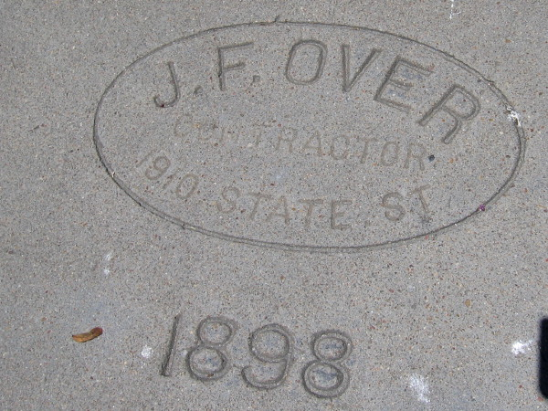 "Concrete sidewalk in front of the Spreckels ""beach house"" is stamped 1898."