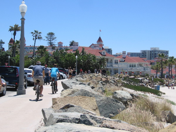 Heading south along the beach toward the Hotel del Coronado, one of the world's finest, most famous resorts.