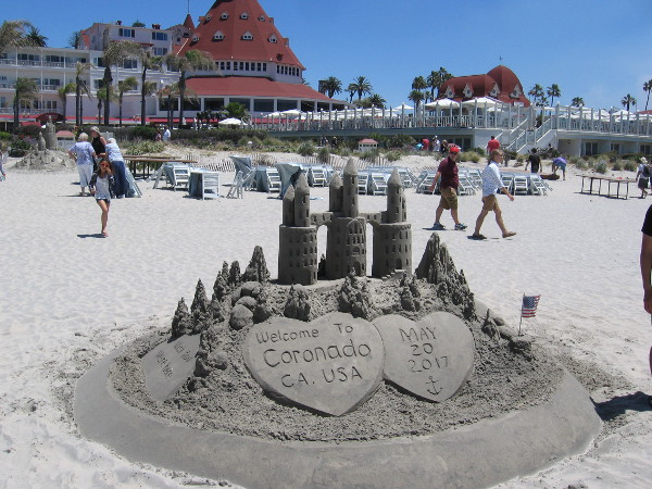 This cool sand sculpture was built near the Hotel del Coronado by The Sandcastle Man!