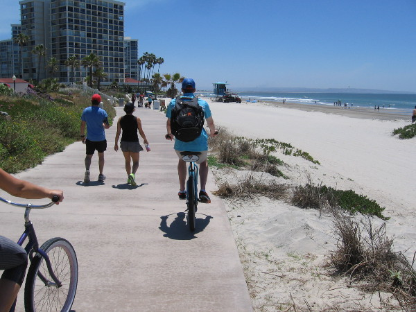 Biking down toward the Coronado Shores.