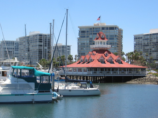 The Hotel del Coronado's old boathouse, on Glorietta Bay, built in 1887. It's now home to the Bluewater Boathouse Seafood Grill.