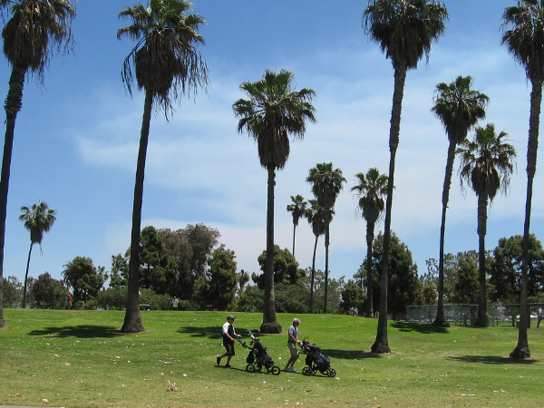 Golfers enjoy a sunny spring Saturday at the Coronado Municipal Golf Course.