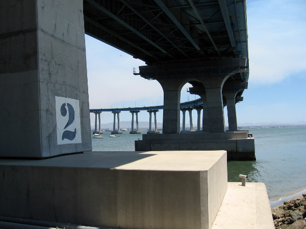 Photo taken beneath the San Diego- Coronado Bridge, which opened in 1969. Locals often call it the Coronado Bay Bridge.