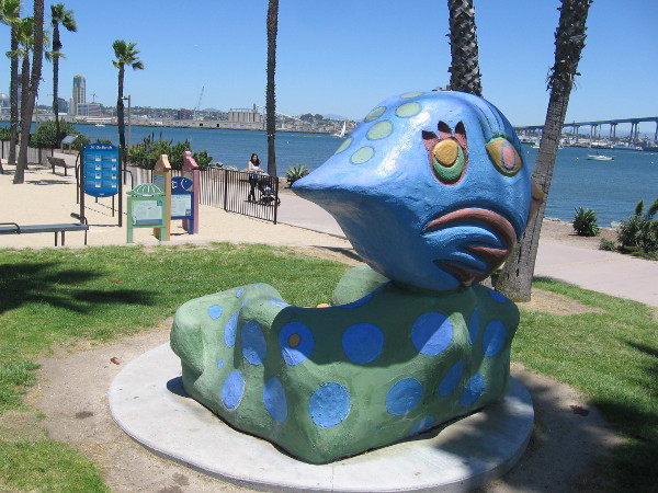 A silly bench by the playground at Coronado Tidelands Park, created by sculptor Douglas Snider of Studio 15 in Balboa Park's Spanish Village Art Center.