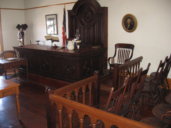 Another photo inside the courtroom. This served as the second County Courthouse in San Diego, in operation from 1869 to 1871.