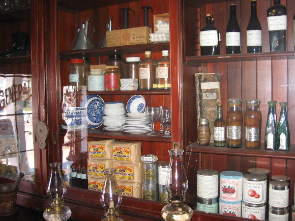 Shelves behind the store's counter contain products one might buy in the mid to late 1800's in San Diego. Goods that arrived by ship around Cape Horn were later obtained via transcontinental railroad.