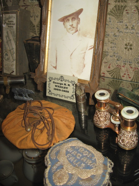 Inside the display one can see an old photograph of George H. R. Whaley, one of the six children of Thomas and Anna Whaley.