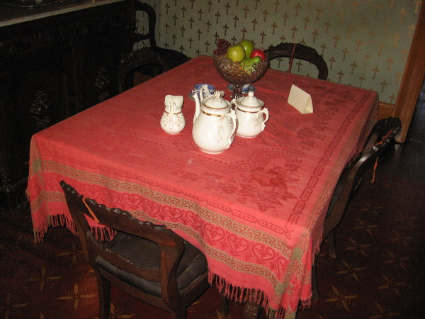 Next on the self-guided tour is the circa 1860s dining room. The chairs are upholstered with woven horse hair. They've survived a century and a half in pretty good condition.
