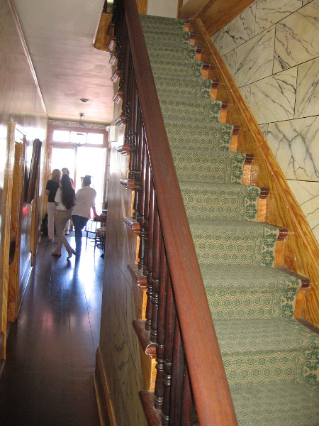 These stairs lead up to the second floor of the Whaley House, where there is a theater and three bedrooms.