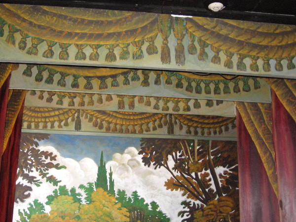 Another photo showing painted curtains. A docent sitting by the theater window told me she smelled sudden, mysterious lavender perfume on two occasions. Nobody was nearby.