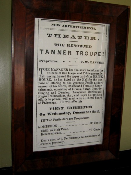 Advertisement framed on theater wall. Admission to see the Tanner Troupe perform was 50 cents. Audiences saw moral, chaste and versatile entertainments--drama, farce, comedy, singing and dancing.