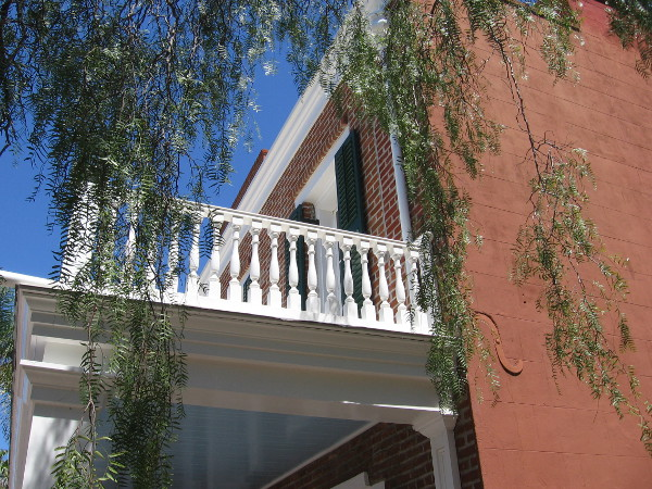 Outdoor stairs back then ascended to this outside balcony. Audiences entered the theater that way, without disturbing the Whaley House living quarters.