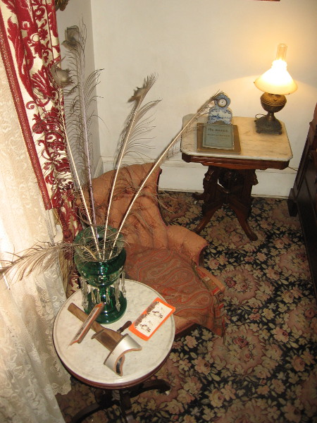 Now we are back downstairs. This is part of the elegant guest chamber in the southeast corner of the Whaley House. Important people stayed here, including General Thomas Sedgewick.