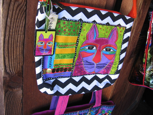 A very colorful cat bag.
