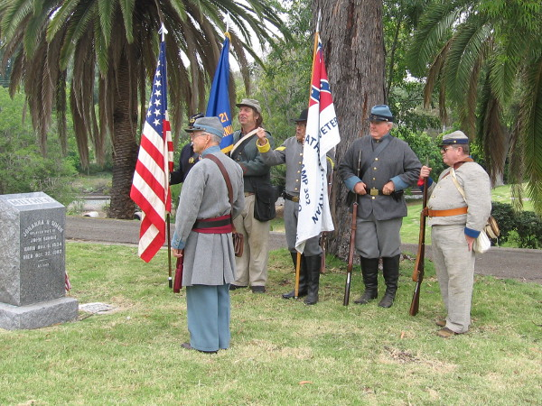 Some participants wore Civil War uniforms--both blue and gray. They posted the flags and provided a musket salute.
