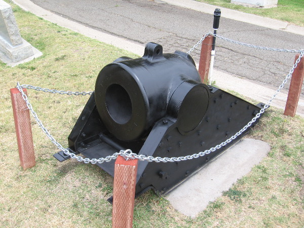 This restored mortar dates from the American Civil War. It stands on GAR Hill at Mount Hope Cemetery.