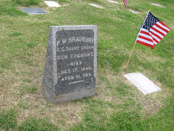 One of many gravestones. Here lies P.W. Bradbury, a scout under General Fremont.
