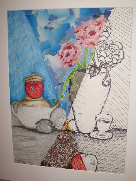Arissa Diaz-Lelevier, Multi-media Still Life, mixed media, Eighth Grade, Stella Maris Academy.