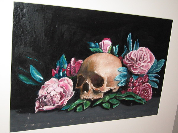 Eric Pak, Flora and Skull, painting, Twelfth Grade, Westview High School.