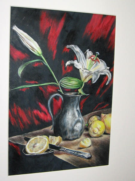 Karina Spinazzola, Lemons and Lilies, drawing, Eleventh Grade, Westview High School.