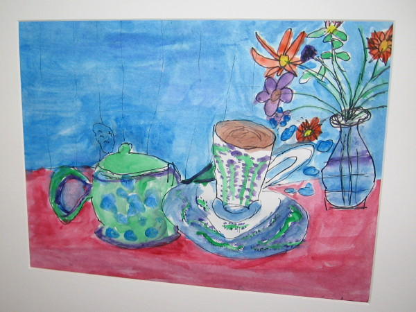 Caden Glazner, Time for Tea, painting, Third Grade, Del Sur Elementary.