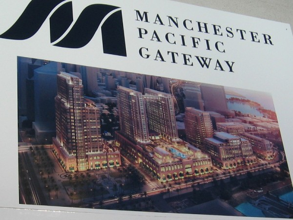 The Navy Broadway Complex is being demolished to make way for Manchester Pacific Gateway, which will include four office buildings, a retail promenade, tourist attractions, a park and two hotels.