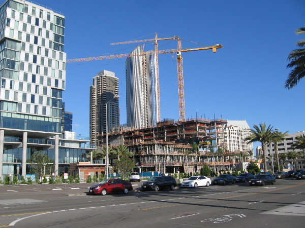 Pacific Gate rises behind construction of the new InterContinental Hotel, located at the site of old Lane Field. Photo taken across Harbor Drive.