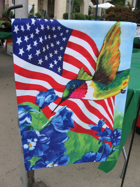 As I walked about I spotted this colorful banner with a hummingbird and American flag. Perfect for Memorial Day weekend!