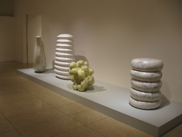 Richard Deacon creates astonishing art using many different materials. These huge pieces are ceramic. They seem to have bubbled up from the Earth, or the artist's mind.