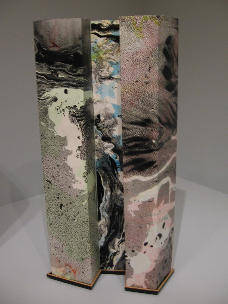 Housing 10, 2012. Marbling on folded STPI handmade paper, constructed with magnet button.