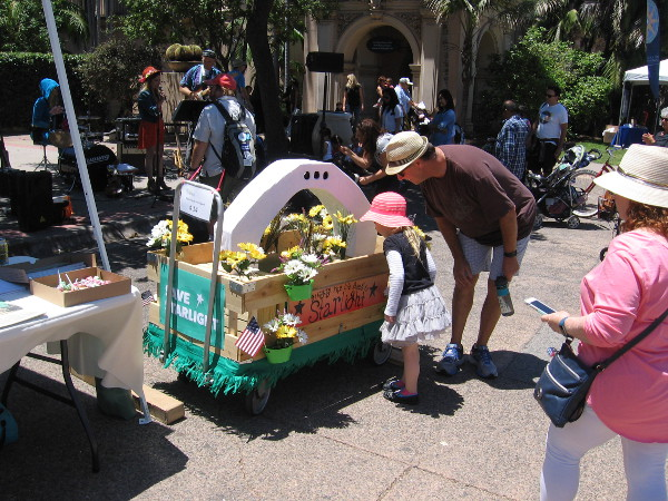 Checking out one of the floral wagons that participated in the morning parade down El Prado.