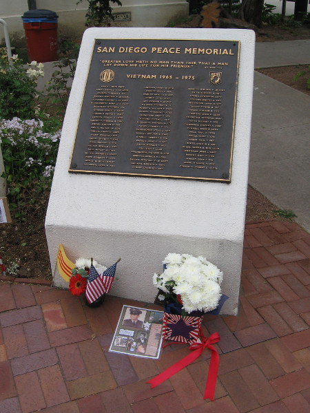 Names of San Diegans who were killed or designated missing in action during the Vietnam War fill half a dozen bronze plaques.