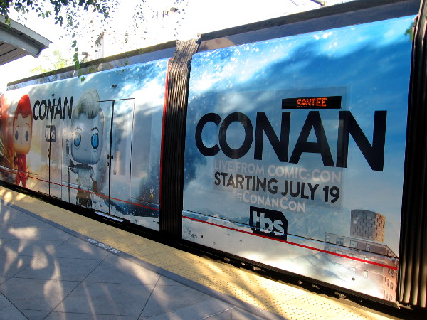 Conan O'Brien is returning to San Diego Comic-Con in 2017. Trolleys are wrapped with images of Conan as four different Funko Pop! toys.