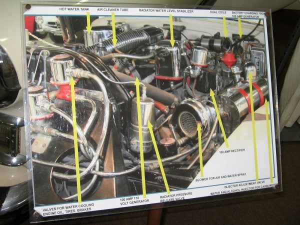 Diagram shows numerous modifications and additions to the 1947 Cadillac's original stock engine.