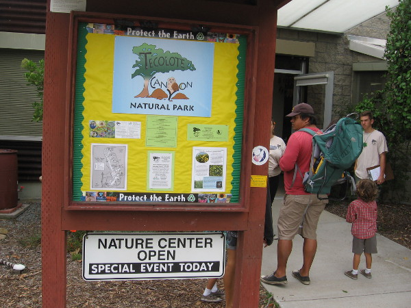 Sign near entrance of the Nature Center provides info about Tecolote Canyon Natural Park.