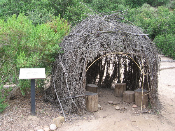Behind the Nature Center, near an amphitheater and native garden, I saw this e'waa, a simple willow branch structure built by the Native American Kumeyaay.