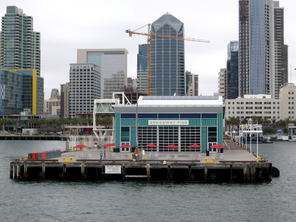 Looking back toward the Port Pavilion on Broadway Pier. This facility can host special events or welcome cruise ships. Every cruise ship adds 2 million dollars to the San Diego economy.
