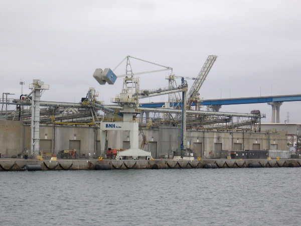 This part of the facility is used for transferring cement between ship and shore.