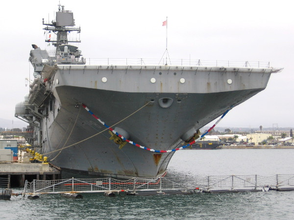 The USS Makin Island (LHD 8) returned from deployment recently. The gold anchors indicate this ship has earned the Navy's Retention Excellence Award.