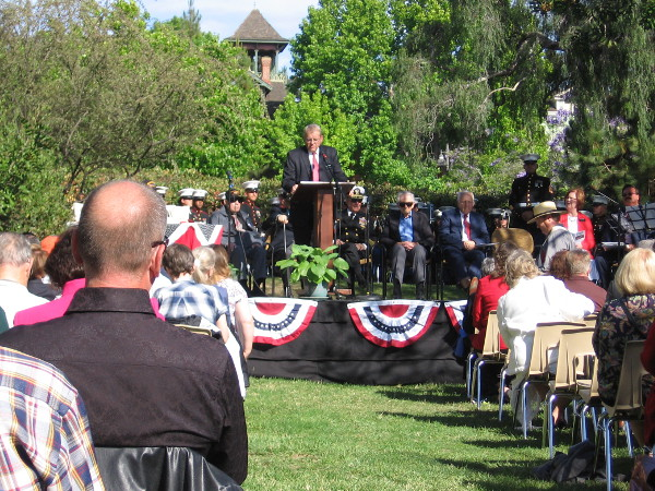 Guests are welcomed by Director of the San Diego Mormon Battalion Historic Site, Elder Michael Hemingway.