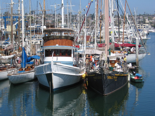 A few vessels the public can visit during the San Diego Wooden Boat Festival at the Koehler Kraft boatyard on Shelter Island.