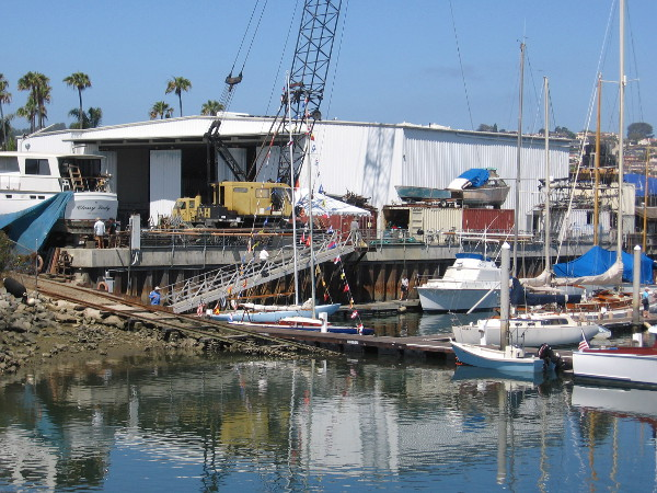 A look at the Koehler Kraft boatyard from a platform that juts out over the edge of Shelter Cove Marina in Americas Cup Harbor.