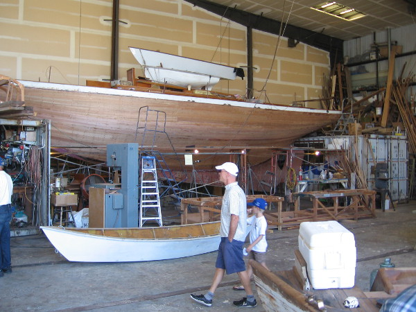 Inside the Koehler Kraft building are several more wooden boats. The big one being worked on is Siwash, a 1910 yawl that held the round Catalina time record for 27 years.