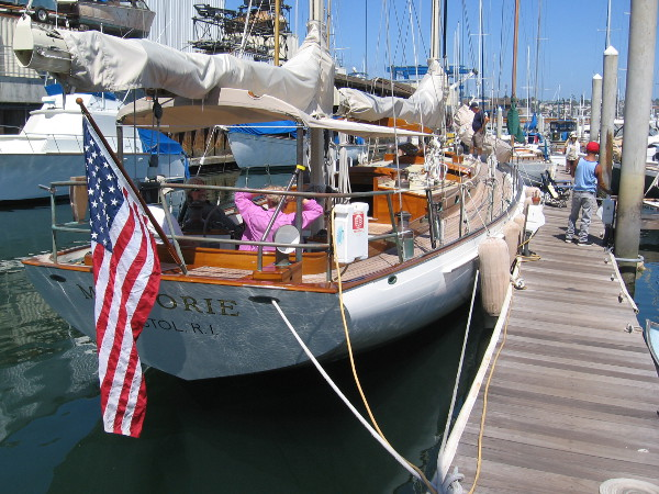 The Marjorie is an elegant wooden boat.