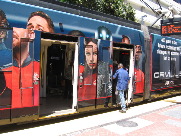 The human and non-human relationships are already scrambled on the trolley when doors open. San Diego Comic-Con will soon fill these trolleys with all sorts of unusual, surprising sights!