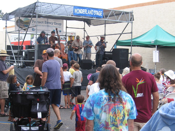 Many different musical artists entertained the crowd at the OB Street Fair. This band could be heard at the Wonderland Stage.